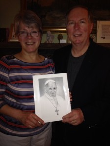 Dean Dan and Mrs. Denise Pudvah holding Pope Francis photo